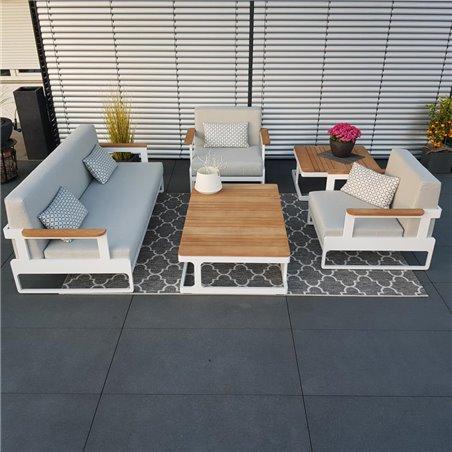 Gartenlounge Gartenmöbel  Lounge Set Cassis Aluminium Teak weiß