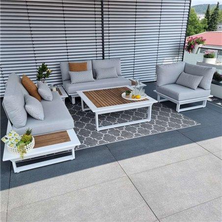 salón de jardín muebles de jardín juego de salón Cannes aluminio teca blanco Conjunto de módulos lounge