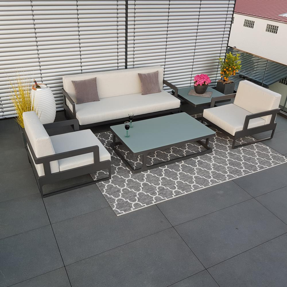 Gartenlounge Gartenmöbel Marseille Aluminium Anthrazit