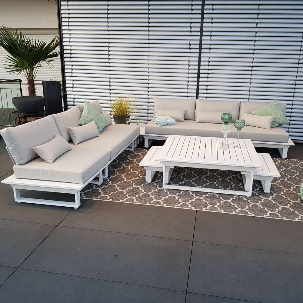 Salon de jardin salon de jardin Menton aluminium blanc Ensemble de modules de salon