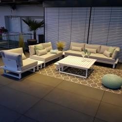 Salon de jardin salon de jardin salon Menton aluminium blanc  Ensemble de modules de salon