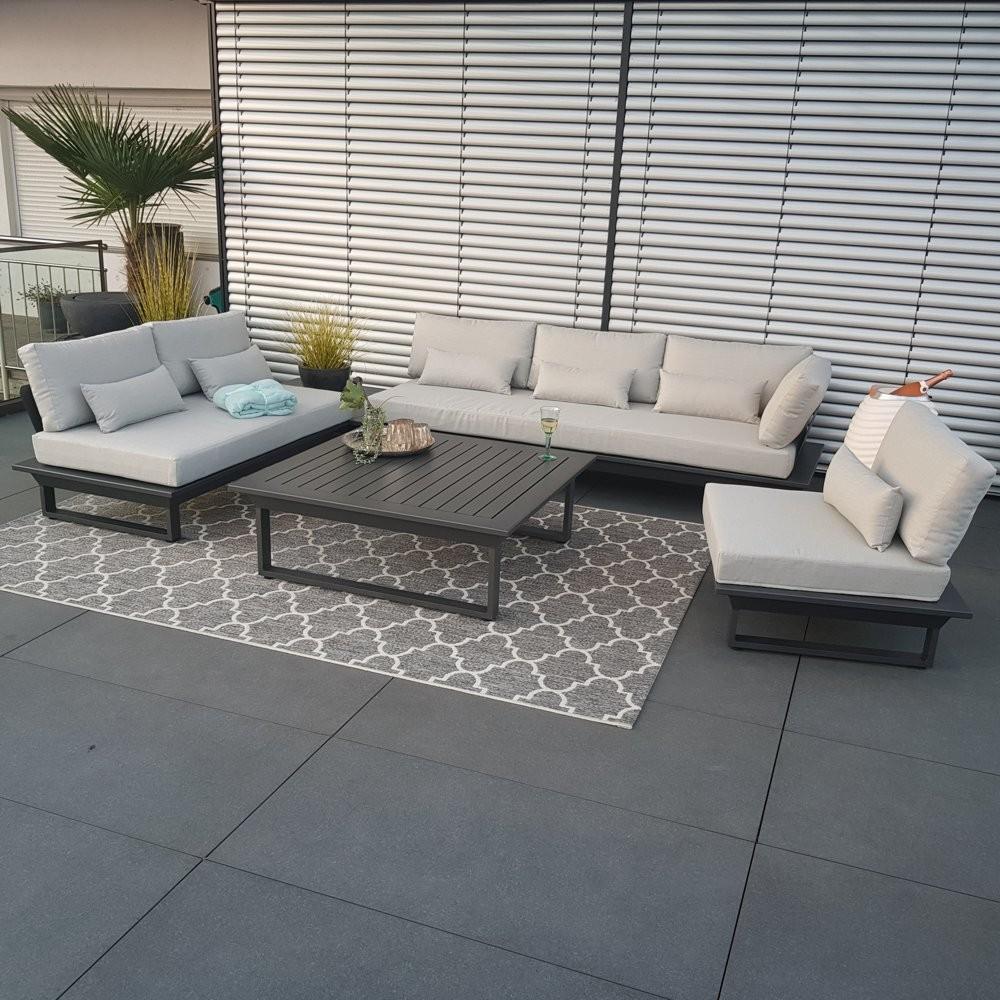 Gartenlounge Set Gartenmöbel St.Tropez Aluminium Anthrazit Rundecke Modul Luxus exclusiv outdoor alu Lounge